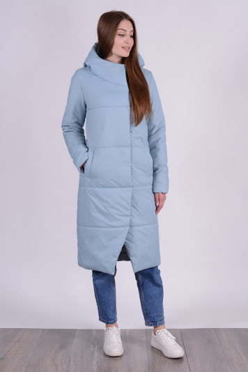 Пальто деми 99610 сизое
