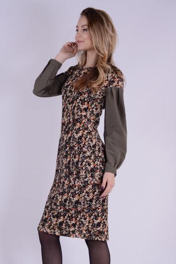 Платье с рукавами из хлопка 0101 принт