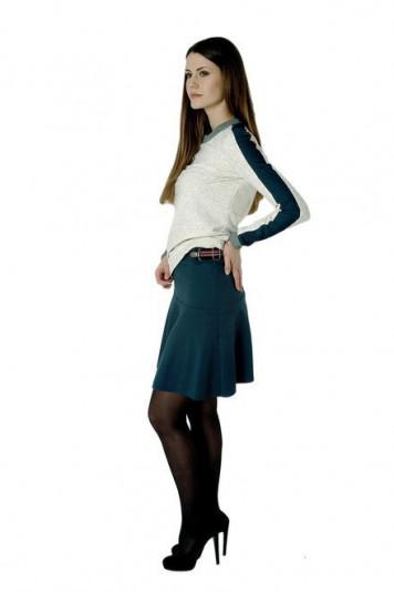 Джемпер 7109 + юбка мини 7102.1 зеленые