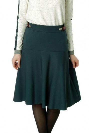 Джемпер 7109 + юбка миди 7102.2 зеленые