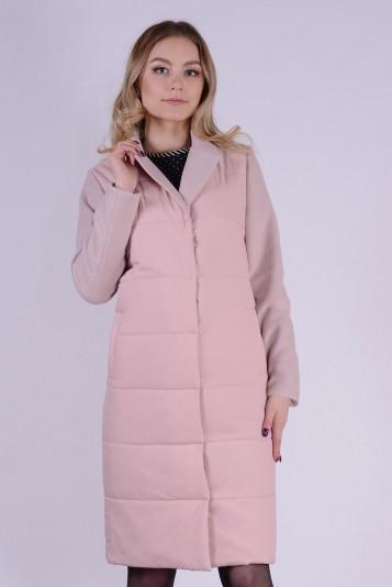 Пальто деми 99592 жемчужное