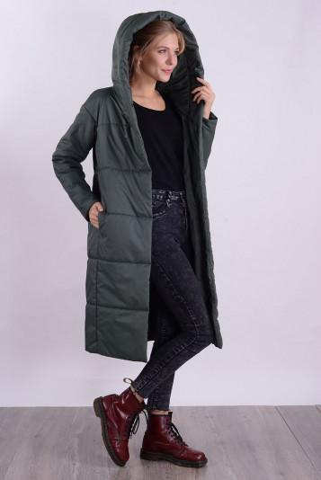 Пальто деми 99598 зеленое