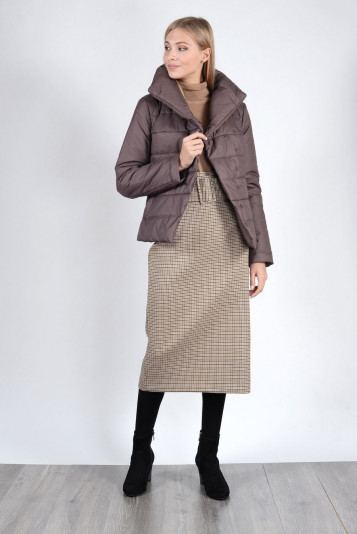 Модная курточка женская 93522 кофейная