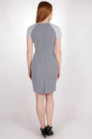 Платье 7121 клетка-полоска