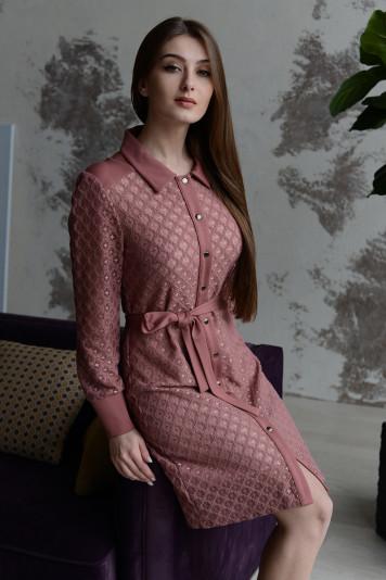 Платье-рубашка 8109 роза