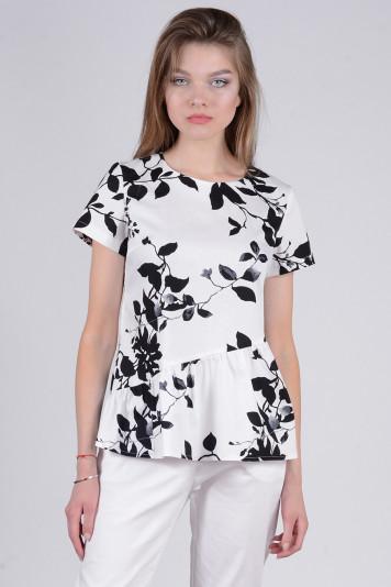 Блуза 8308.2 белая с принтом