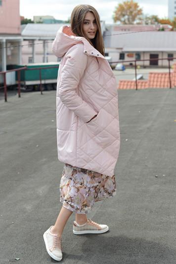 Пальто деми 93562 жемчужный