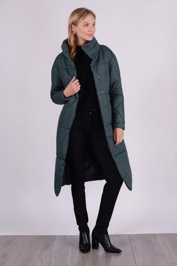Пальто демисезонное 99609 зеленое