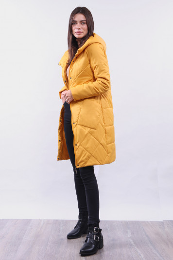 Пальто женское 99646 охра