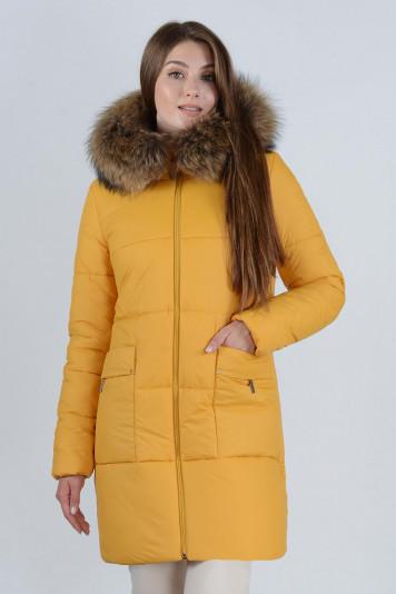 Зимнее пальто 90638 охра