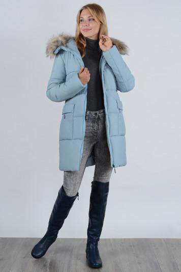 Зимнее пальто 90638 сизое