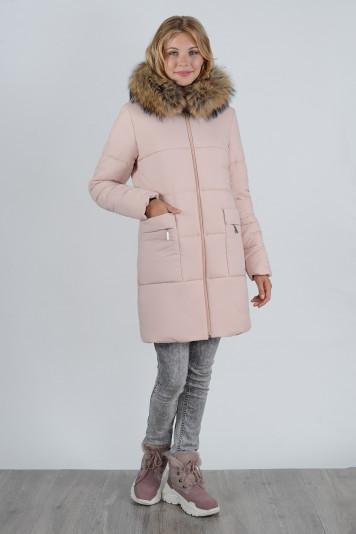 Зимнее пальто 90638 жемчужное