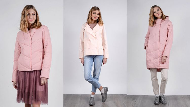Куртки, ветровки, пальто в розовых тонах
