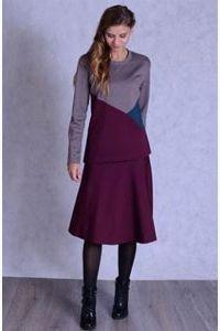 Бордовая юбка и джемпер