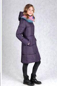 Зимнее пальто цвета черники