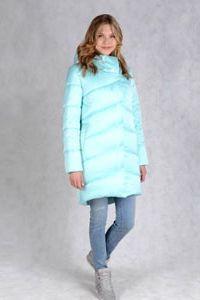 Зимнее пальто голубого цвета