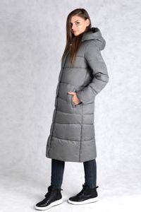 Зимнее пальто асфальтового цвета