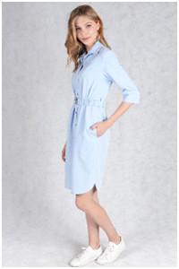 Платье-рубашка нежного голубого цвета