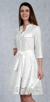 Платье рубашечного типа с юбкой из кружева