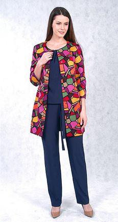 Капсула одежды: пальто с принтом и синий брючный костюм