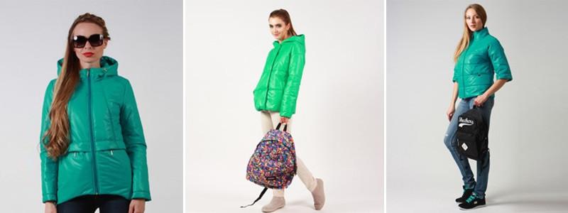 Женские куртки освежающего зеленого цвета