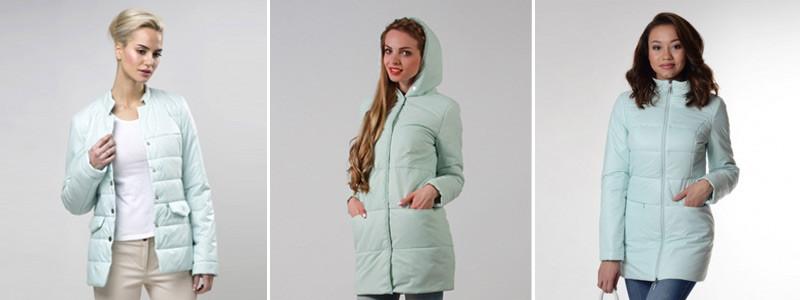 Мятный цвет в куртках и пальто