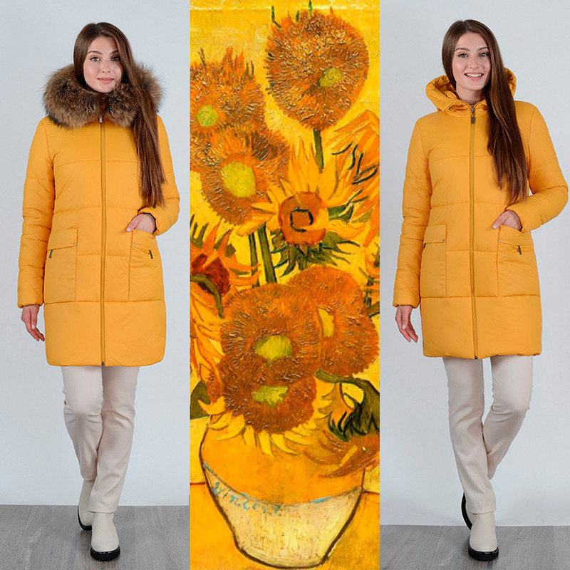 Зимнее женское пальто цвета охры