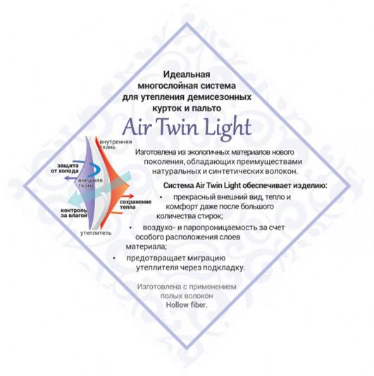 Описание утеплителя Air Twin Light в демисезонных женских пальто Twin Tip